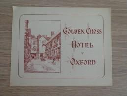 ETIQUETTE HOTEL GOLDEN CROSS OXFORD - Etiquettes D'hotels