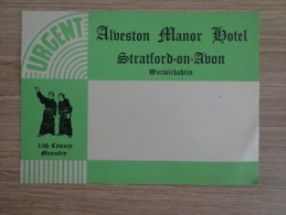 ETIQUETTE HOTEL ALBESTON MANOR HOTEL STRATFORD ON AVON WARWICKSHIRE - Etiquettes D'hotels