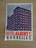 ETIQUETTE HOTEL HOTEL ALBERT 1ER BRUXELLES - Etiquettes D'hotels