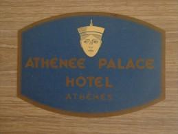 ETIQUETTE HOTEL ATHENEE PALACE HOTEL ATHENES - Etiquettes D'hotels