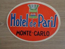 ETIQUETTE HOTEL HOTEL DE PARIS MONTE CARLO - Etiquettes D'hotels