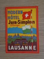 ETIQUETTE HOTEL MODERN HOTEL JURA SIMPLON LAUSANNE - Etiquettes D'hotels