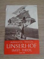 ETIQUETTE HOTEL  ALPENHOTEL PENSION LINSERHOF IMST TIROL - Etiquettes D'hotels