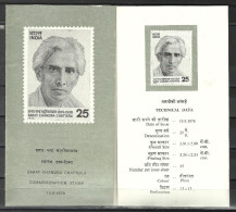 INDIA, 1976, BROCHURE WITH INFORMATION,  Birth Centenary Of Sarat Chandra Chatterji, Novelist, Writer. - Cartas