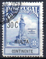 "PORTUGAL 1925 Postage Due De Pombal Commemoration Overprimted ""multa"" - 30c - Blue  FU - Postage Due"