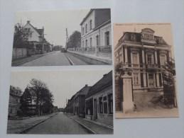 SCHOOL, TASSETSTRAAT, STATIE En HOTEL ( Bijgesneden Kaarten / 3 Stuks ) Anno 19?? ( Zie Foto´s Voor Details ) !! - Neerpelt