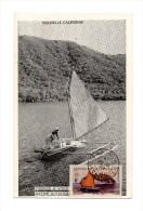 !!! NOUVELLE CALEDONIE CARTE MAXIMUM 1F PIROGUE A VOILE CACHET DE NOUMEA DU 25/2/1949 - Maximumkaarten
