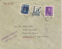 13814. Carta Aerea LAS PALMAS (Canarias) 1939. CENSURA Militar - 1931-Heute: 2. Rep. - ... Juan Carlos I