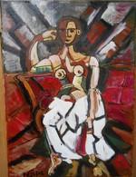 Tableau Néo Cubiste  Etude De Femme  Huile Sur Toile 33 Cm X 24 Cm - Olieverf