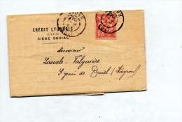 Lettre Cachet Lyon Sur Mouchon Bordereau Effets Remis - Postmark Collection (Covers)