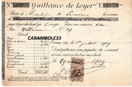 Quittance De Loyer  1909  Timbre 10 C Quittances - 1900 – 1949