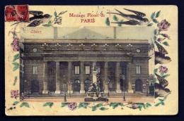 CPA MOIRÉE ANCIENNE- FRANCE- PARIS (75)- MESSAGE FLEURI- THÉARE NATIONAL DE L'ODÉON- GROS PLAN- HIRONDELLES- - France