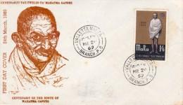Malta 1969 Mahatma Gandhi Birth Centenary Cacheted FDC - Mahatma Gandhi
