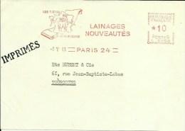 Lettre  EMA Lainages Les Tissus Made In France Textiles Animaux Mammiferes Moutons  Theme 75 Paris A58/36 - Briefmarken