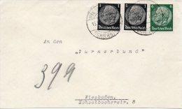 DR Ortsbrief WIESBADEN-SCHIERSTEIN 1937 Mit 512 (2) + 516 - Allemagne