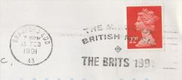 1991 GB COVER Bradford SLOGAN Pmk THE BRITS 1991 The MAGIC OF BRITISH MUSIC Awards  Stamps Theatre - Music