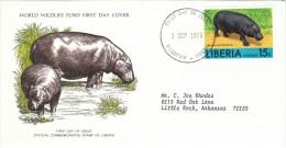 Liberia #765 FDC, 15c Value African Animals, Hippopotamus, 1976 Issue Postage Stamp - Liberia