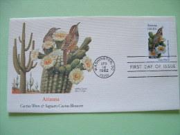USA 1982 FDC Cover -  State Bird And Flower - Arizona Cactus Wren And Saguaro Cactus Blossom - Etats-Unis