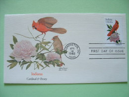 USA 1982 FDC Cover -  State Bird And Flower - Indiana Cardinal And Peony - Stati Uniti