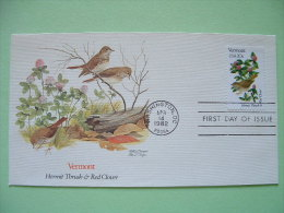 USA 1982 FDC Cover -  State Bird And Flower - Vermont Hermit Thrush And Red Clover - United States