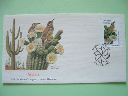 USA 1982 FDC Cover -  State Bird And Flower - Arizona Cactus Wren And Saguaro Cactus Blossom - Lettres & Documents