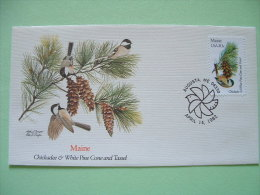 USA 1982 FDC Cover -  State Bird And Flower - Maine Chickadee And White Pine Cone And Tassel - Etats-Unis