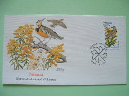 USA 1982 FDC Cover -  State Bird And Flower - Nebraska Western Meadowlark And Goldenrod - Etats-Unis