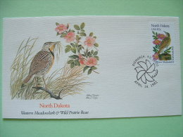 USA 1982 FDC Cover -  State Bird And Flower - North Dakota Western Meadowlark And Wild Prairie Rose - Etats-Unis