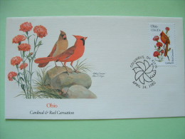 USA 1982 FDC Cover -  State Bird And Flower - Ohio Cardinal And Red Carnation - Lettres & Documents