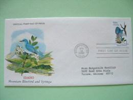 USA 1982 FDC Cover -  State Bird And Flower - Idaho Mountain Bluebird And Syringa - Etats-Unis