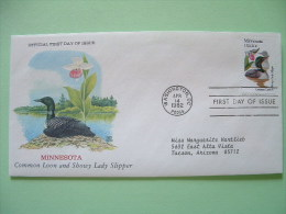 USA 1982 FDC Cover -  State Bird And Flower - Minnesota Common Loon And Showy Lady Slipper - Stati Uniti
