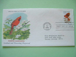 USA 1982 FDC Cover -  State Bird And Flower - North Carolina - Cardinal And Flowering Dogwood - United States
