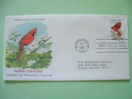 USA 1982 FDC Cover -  State Bird And Flower - North Carolina - Cardinal And Flowering Dogwood - Stati Uniti
