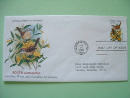 USA 1982 FDC Cover -  State Bird And Flower - South Carolina Wren And Jassamine - United States