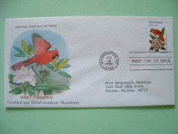 USA 1982 FDC Cover -  State Bird And Flower - West Virginia Cardinal And Rhododendron Maximum - Etats-Unis