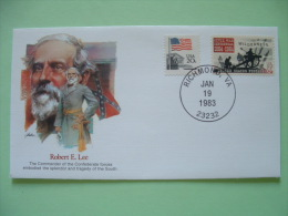 USA 1982 Commemorative Cover Proudest Americans - Robert Lee - Military Confederate Forces - Flag Cannon - Etats-Unis