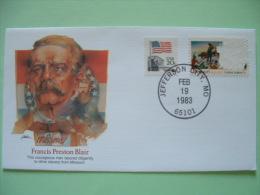 USA 1982 Commemorative Cover Proudest Americans - Francis Preston Blair - Slavery - Flag (one Stamp Damaged) - Etats-Unis