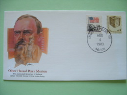 USA 1982 Commemorative Cover Proudest Americans - Oliver Hazard Perry Morton - Governor Indianan - Flag Elections Bal... - Stati Uniti