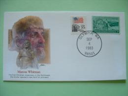 USA 1982 Commemorative Cover Proudest Americans - Marcus Whitman - Christian Missionary - Flag - Washington Ox Charriot - Etats-Unis