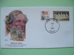 USA 1982 Commemorative Cover Proudest Americans - Jefferson Davis - President Civil War - Flag - Stone Mountain Memor... - Lettres & Documents