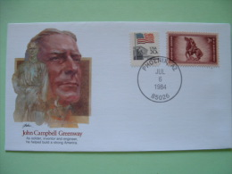 USA 1982 Commemorative Cover Proudest Americans - John Campbell Greenway - Soldier Inventor Engineer - Flag - Horse A... - Lettres & Documents