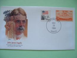 USA 1982 Commemorative Cover Proudest Americans - John James Ingalls - Kansas - Flag - Ox Wagon - Stati Uniti