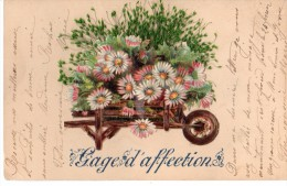 Cpa Bonne Année - Gage D'Affection - BROUETTE Pleine De Fleurs Gaufrée En Relief Avec Herbe Véritable - Nouvel An