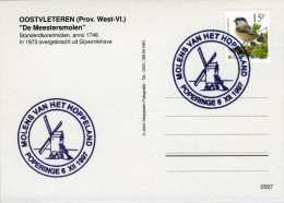 OOSTVLETEREN en POPERINGE (W.Vl.) - filatelie molen/moulin - Prentkaart Demeesters Molen met stempel 6 XII 1997