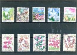 """Petit Lot """" JAPON """" - 10 Différents - Fleurs - Collections, Lots & Séries"""