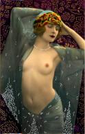 Nu - Carte Photo - Décor Art Nouveau Déco - Femmes Seins Nus - Dorures - Thème Nue Nude érotique érotisme - Desnudos Adultos (< 1960)