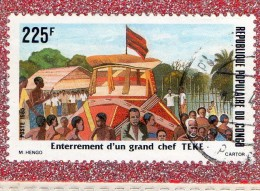 REP.  POPULAIRE  DU  CONGO  --  ENTERREMENT  D'UN  GRAND  CHEF  TEKE  --  ** 225 F. **  POSTE  1985  -- BEG - Congo - Brazzaville
