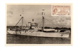 !!! FALKLAND : CARTE MAXIMUM BATEAU CACHET DU 18/12/1957 - Falkland