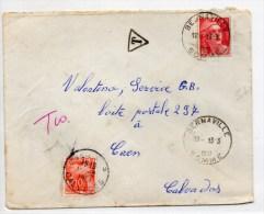 1951 - ENVELOPPE De BERNAVILLE (SOMME) Avec TAXE De 10 F - GANDON - Taxes