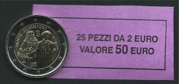ITALIA 2015 - ROLL 2 EURO COMMEMORATIVO DANTE  ORIGINALE ZECCA - DATA VISIBILE - FDC - Rotolini